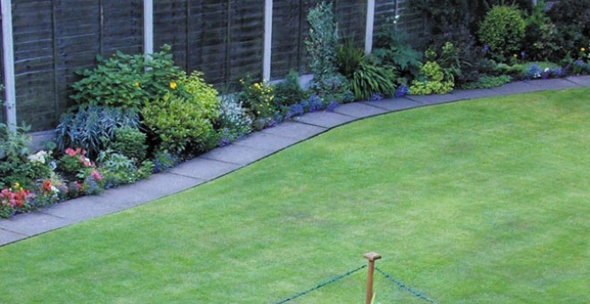 Back garden with new lawn